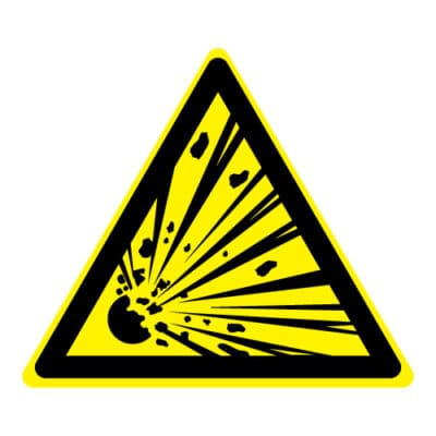 Waarschuwing explosieve stoffen