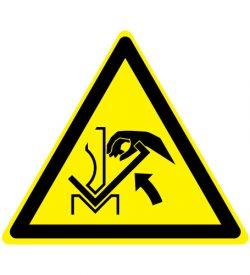 Waarschuwing handverbrijzeling tussen buigbank en materiaal