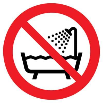 Verboden om deze producten onder de douche of in bad te gebruiken