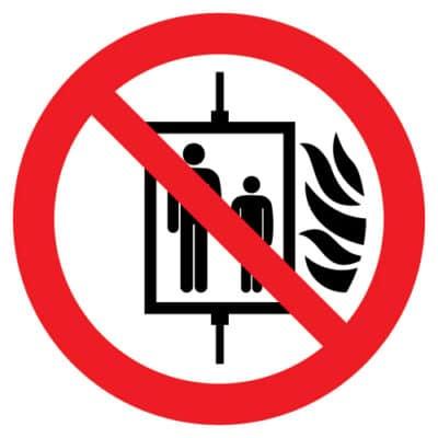 Verboden de lift te gebruiken bij brand