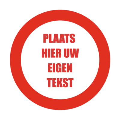cirkel met rode tekst