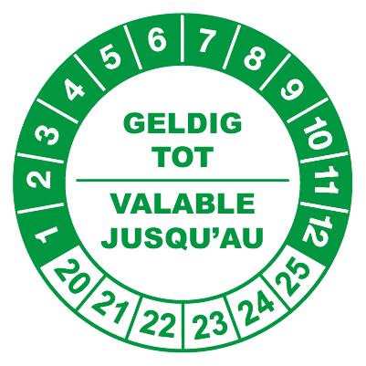 controlelabels geldig tot groen