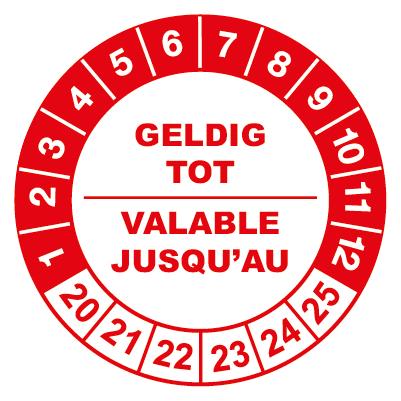 controlelabels geldig tot rood