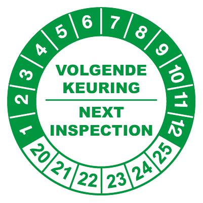 controlelabels volgende keuring groen