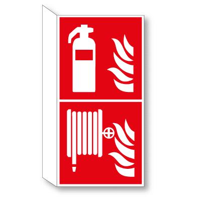 Brandblusser en haspel haaks bordje