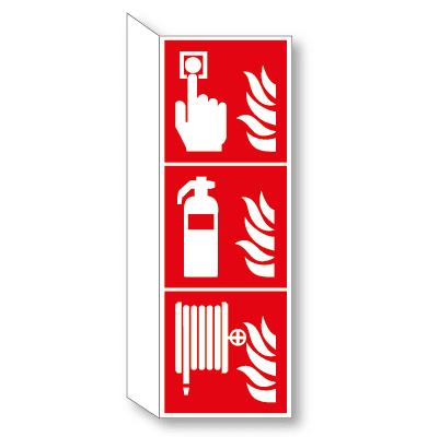 Brandmelder, blusser en haspel haaks bordje