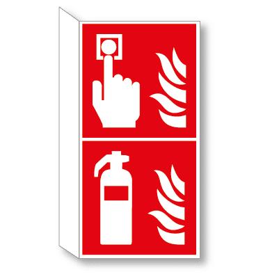 Brandmelder en brandblusser haaks bordje
